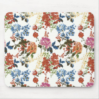 Vintage Chintz Floral Pattern Red Blue Pink Flower Mouse Pad