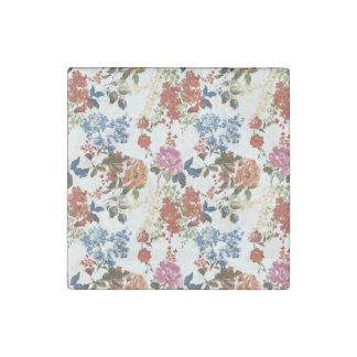 Vintage Chintz Floral Pattern Red Blue Pink Flower Stone Magnet