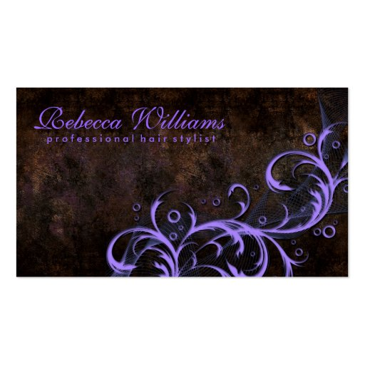 Vintage Chocolate And Purple Stylist Business Card