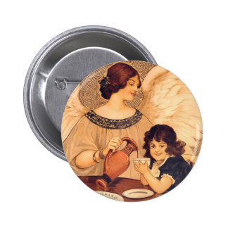Vintage Chocolate Angel Art Nouveau Button
