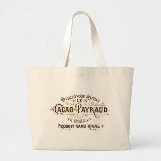 Vintage chocolate cacao advert (retro café grunge) large tote bag