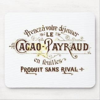 Vintage chocolate cacao advert (retro café grunge) mouse pad