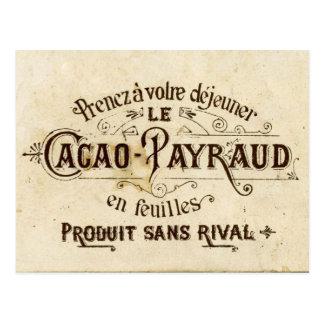 Vintage chocolate cacao advert (retro café grunge) postcard