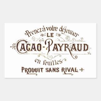 Vintage chocolate cacao advert (retro café grunge) rectangular sticker
