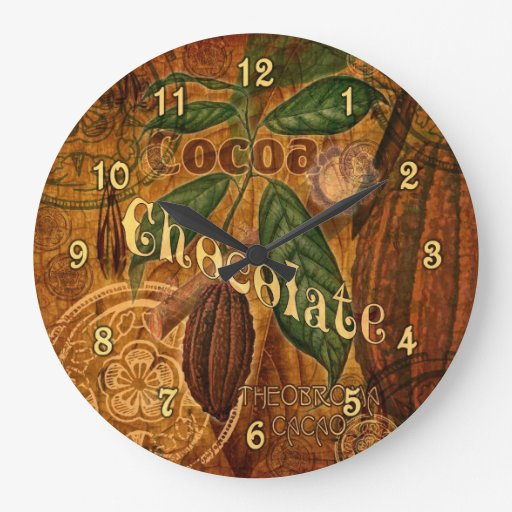 Vintage Chocolate Collage Large Clock | Zazzle