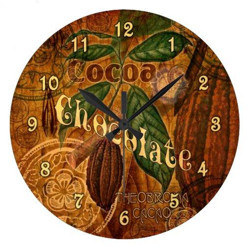 Vintage Chocolate Collage Large Clock | Zazzle