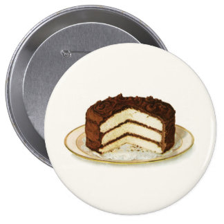 Vintage Chocolate Iced Layer Cake 4 Inch Round Button
