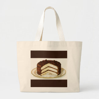 Vintage Chocolate Iced Layer Cake Custom Large Tote Bag