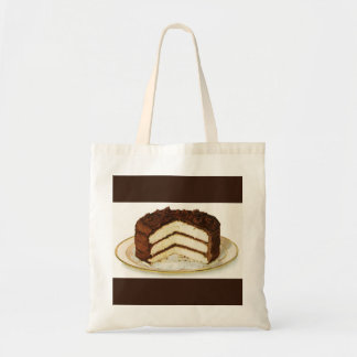 Vintage Chocolate Iced Layer Cake Custom Tote Bag