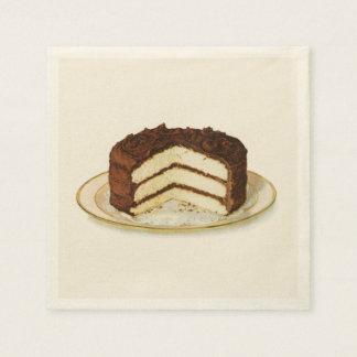 Vintage Chocolate Iced Layer Cake Paper Napkin