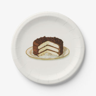 Vintage Chocolate Iced Layer Cake Paper Plate