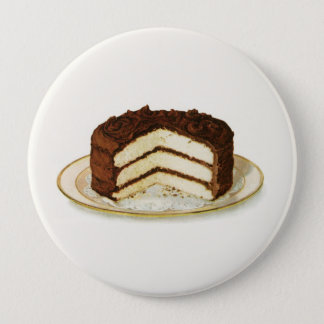 Vintage Chocolate Iced Layer Cake Pinback Button
