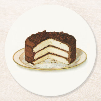 Vintage Chocolate Iced Layer Cake Round Paper Coaster
