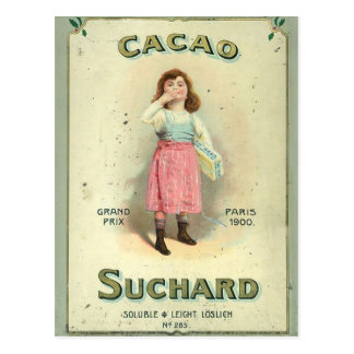 Vintage Chocolate Kiss Girl from France Postcard