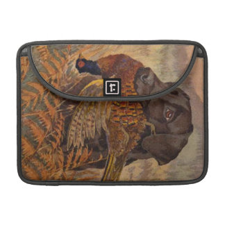 Vintage Chocolate Lab Hunting Sleeve For MacBook Pro