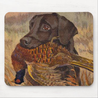 Vintage Chocolate Lab Hunting Mouse Pad