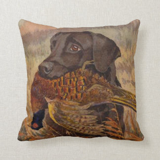 Vintage Chocolate Lab Hunting Throw Pillow