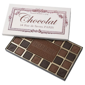 Vintage Chocolate Label Congratulations custom