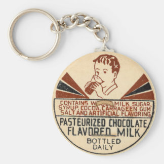 Vintage Chocolate Milk Bottle Cap Keychain
