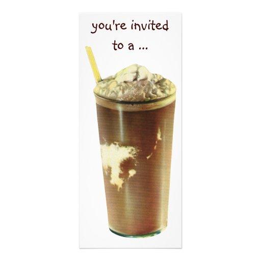 Vintage Chocolate Shake Birthday Party Invitation Personalized Invite