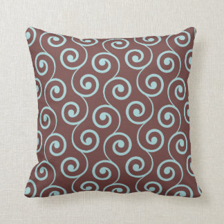Vintage Chocolate Swirl in Aqua Throw Pillows