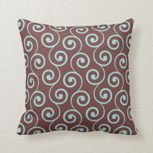 Vintage Chocolate Swirl in Aqua Pillows