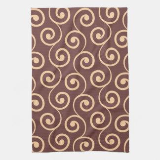 Vintage Chocolate Swirl in Golden Peach Hand Towel