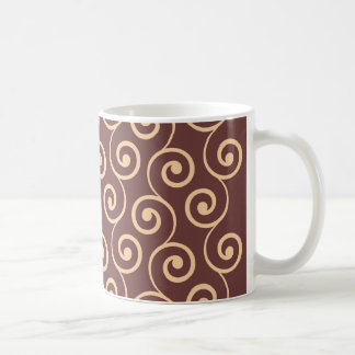 Vintage Chocolate Swirl in Golden Peach Classic White Coffee Mug