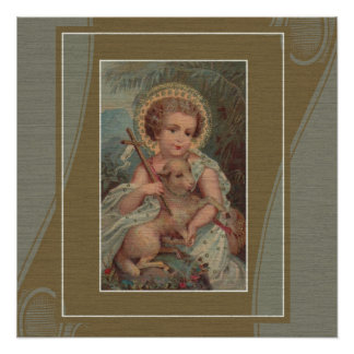 Vintage Christ Child Jesus with lamb & cross Poster