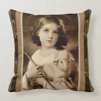 Vintage Christ Child with Lamb & Staff Throw Pillow