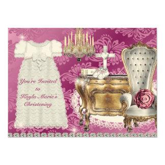 Vintage Christening Invitation PINK DAMASK DESIGN