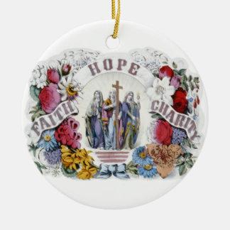 Vintage Christian Art Faith Hope Charity 1874 Ceramic Ornament