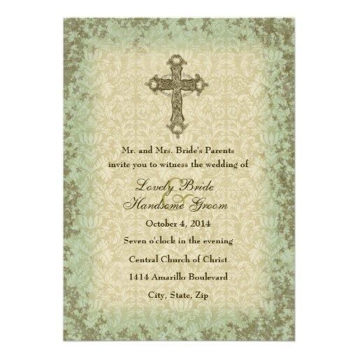 Vintage Christian Cross Wedding Invitation