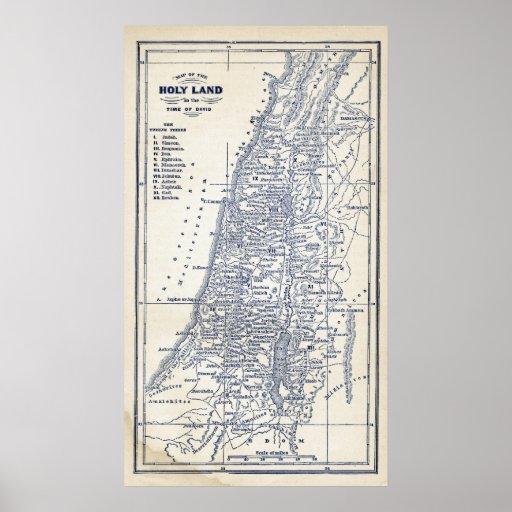 Vintage Christian Holy Land Jerusalem Map Posters