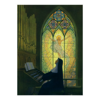 Vintage Christianity Nun Playing Music in Church Poster