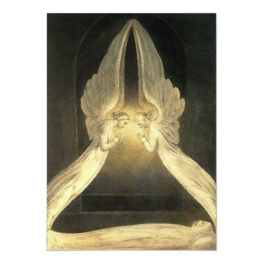 "Vintage Christianity Religion Angels Praying Jesus 5"" X 7"" Invitation Card"