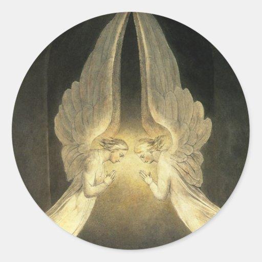 Vintage Christianity Religion Angels Praying Jesus Round Stickers