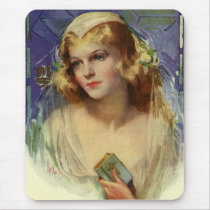 Vintage Christianity Religion, Bride with Bible Mouse Pad