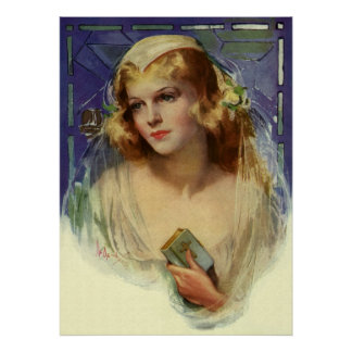 Vintage Christianity Religion, Bride with Bible Poster