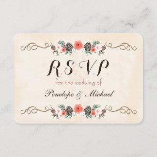 Vintage Christma Floral Pinecone Wedding RSVP Card