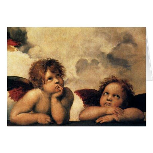 Vintage Christmans, Renaissance Angels by Raphael Greeting Card