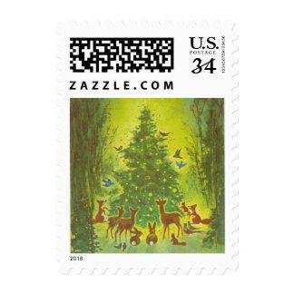 Vintage Christmas 1950 Wildlife Gathering, Tree Postage