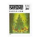 Vintage Christmas 1950 Wildlife Gathering, Tree Stamp