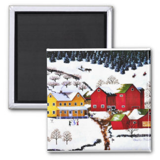 Vintage Christmas 2 Inch Square Magnet