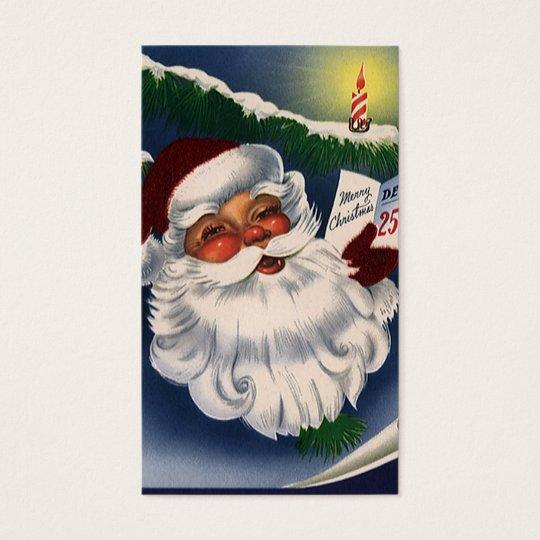 Vintage Christmas, 50s Retro Jolly Santa Claus Business Card