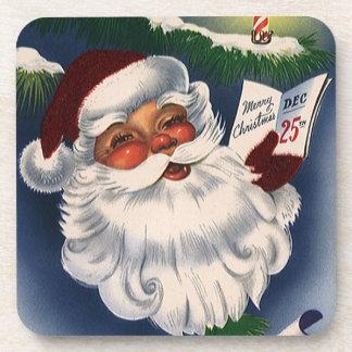 Vintage Christmas, 50s Retro Jolly Santa Claus Drink Coaster