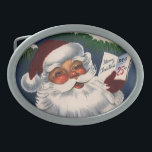 "Vintage Christmas, 50s Retro Jolly Santa Claus Oval Belt Buckle<br><div class=""desc"">Vintage illustration Christmas holiday design featuring a jolly Santa Claus with a beard and hat holding a calendar page showing December 25th, Christmas Day. This close up portrait of Santa&#39;s face also has a tree with a lit candle and snow on the branches. A fun and classic 50s retro kitsch...</div>"