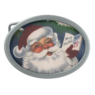 Vintage Christmas, 50s Retro Jolly Santa Claus Oval Belt Buckle