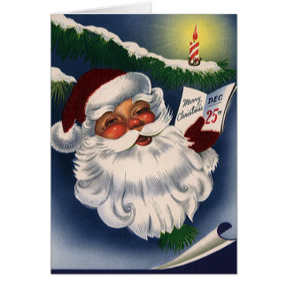 Vintage Christmas, 50s Retro Jolly Santa Claus Stationery Note Card