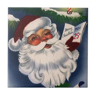 Vintage Christmas, 50s Retro Jolly Santa Claus Tile